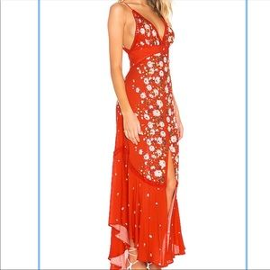 NWT Free People paradise Printed Maxi Dress in Red